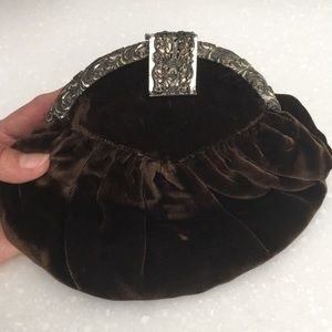 Vintage brown velvet silver clasp bag